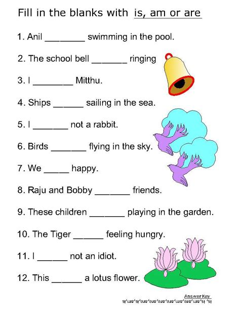 helping verb worksheets for is am are