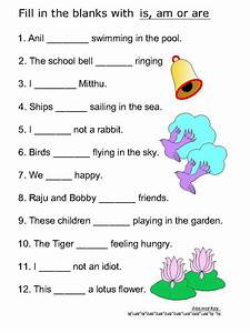 Helping verb worksheets for Is, Am, Are