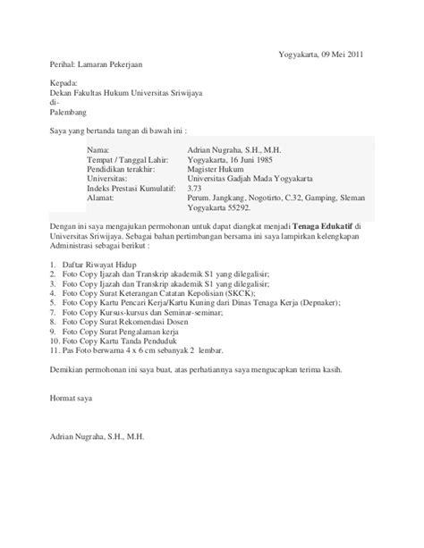 Contoh Surat Lamaran Cpns Dosen by Contoh Surat Lamaran It 11166