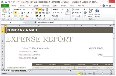 weekly expenses report template  excel