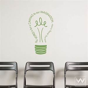 imagination light bulb vinyl wall decal inspirational With wall saying decals