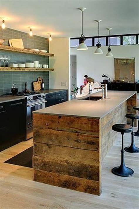 decoration cuisine en ilot central cuisine avec ilot central bois naturel prix conforama