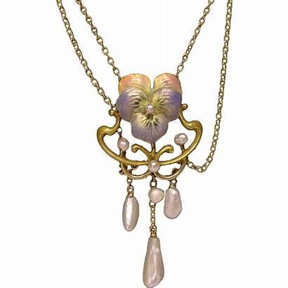 Nouveau Pearl Enamel Gold Necklace Pansy Festoon
