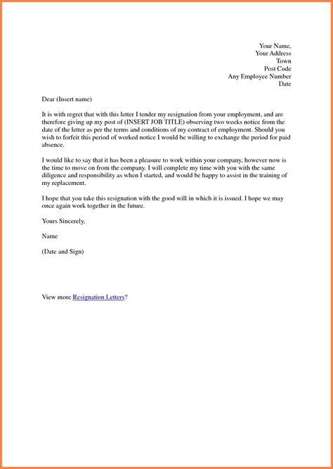 resignation letter  week notice notice letter