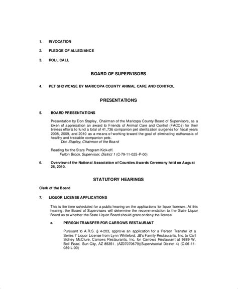 formal meeting agenda template   word