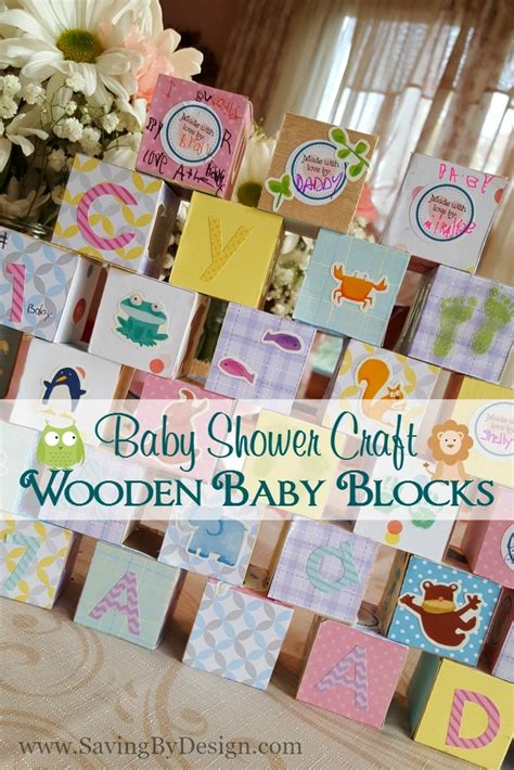 Wooden Building Blocks Baby Shower Craft  A Perfect