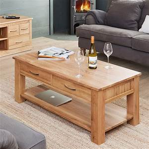 Mobel Oak Four Drawer Coffee Table Wooden Furniture Store