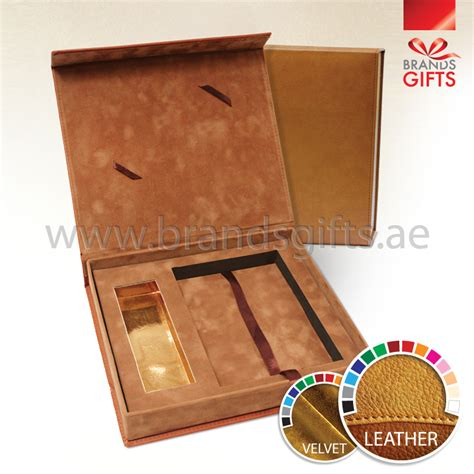 Brown Leather Velvet Box  Gift Boxes In Uae  Brands Gifts