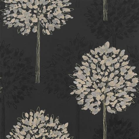 Green And Gold Tree Wallpaper by Buy Arthouse Boulevard Tree Wallpaper Black Charcoal Gold