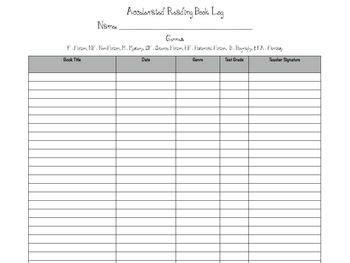 accelerated reader book log management sheets
