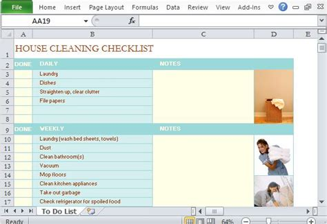 template  making house cleaning checklist  excel