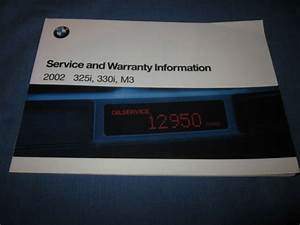 2002 Bmw 3 Series M3 325i 330i Service Owners Manual