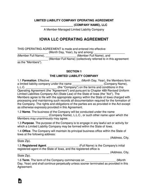 iowa multi member llc operating agreement form eforms