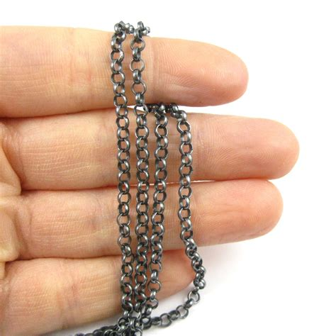 oxidized sterling silver rolo chain   foot