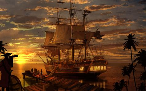 pirate ships sunset reflection fantasy art pictures