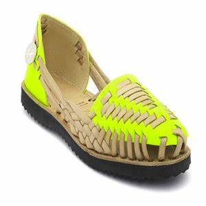 Neon yellow woven leather huarche sandals Ethical