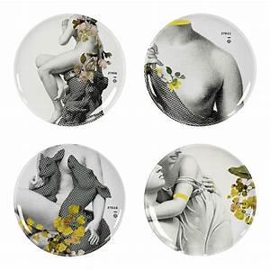 Service Assiette Design : assiette yuan parnasse set de 4 gris motifs gris jaunes parnasse ibride ~ Teatrodelosmanantiales.com Idées de Décoration