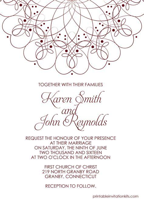 spiral border invitation   template  weddings