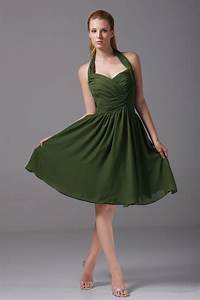 dark green ruched chiffon bridesmaid dresses summer With halter dress for wedding guest