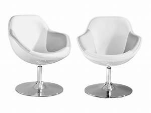 Fauteuil design blanc et argent pearl lot de 2 Fauteuil Topkoo
