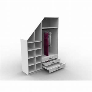 Meuble Pour Sous Pente : meuble sous escalier avec dressing sur mesure et configurable ~ Melissatoandfro.com Idées de Décoration