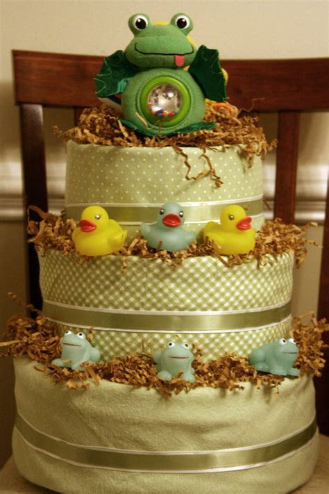 gender neutral fondant diaper cake  diaper cakes