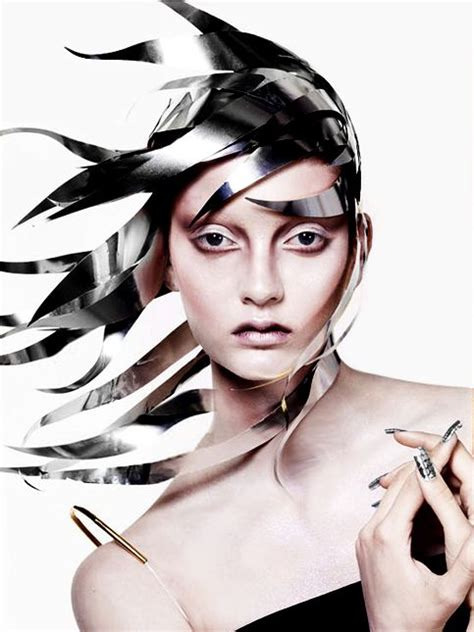 metal hair style avant garde hair style design made from thin metal sheets 4871