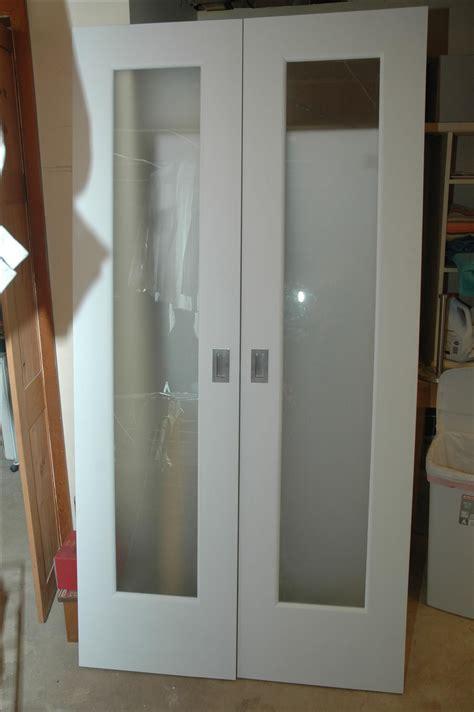 handmade closet doors  frosted glass panels  wooden