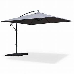 Parasol Déporté Carré : parasol d port carr 3x3m hardelot gris mat excentr 8 baleines toile 180g d perlante ~ Mglfilm.com Idées de Décoration