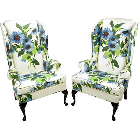 pair of and bold floral linen upholstered wing