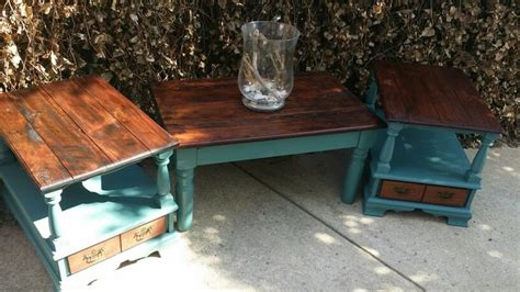 Refurbished Barn Wood Furniture by Barn Wood Coffee Table And Vintage Refurbished End Tables