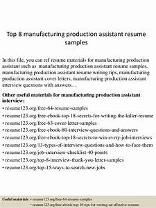 Production Manager Resume Sample Top 8 Manufacturing Production Assistant Resume Samples