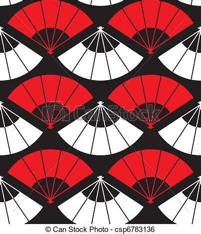 clip art vector  japan fan abstract background  red