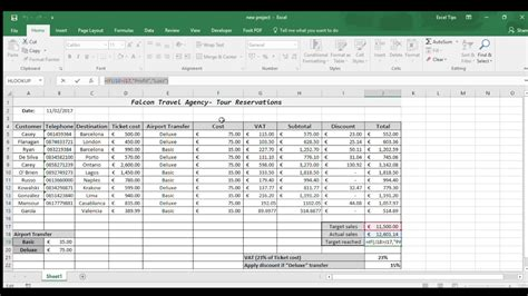 excel   travel agency spreadsheet youtube