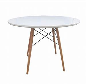 Bentley home retro wooden white round dining table for Designer kitchen tables