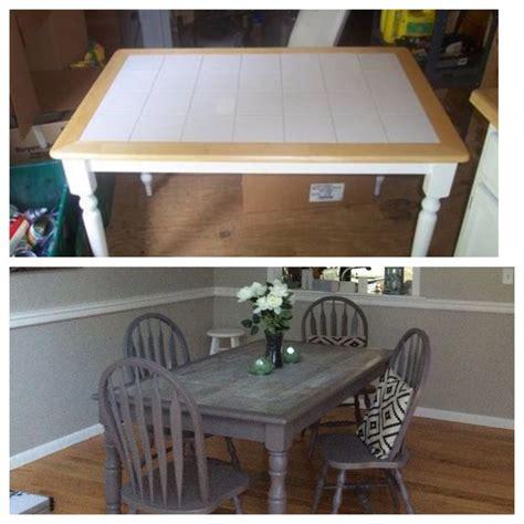 refurbished tile table ceramic gray wood tile inlay