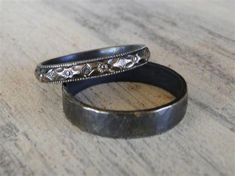 sterling silver rings    wedding rings black