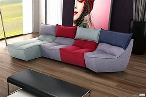 Changer Tissu Canapé : canap modulable cuir tissu moderne ensemble canap meubles ~ Nature-et-papiers.com Idées de Décoration