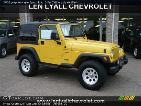 yellow jeep interior solar yellow 2002 jeep wrangler sport 4x4 agate black