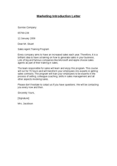 letter of introduction sle sales introduction letter