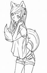 Tomboy Coloring Pages Fox Digital Anime Outline Sheets Adult Chibi sketch template