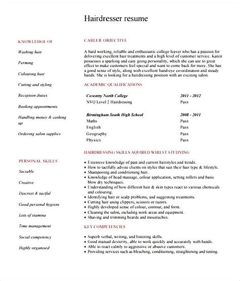 Hairdressing Resumes by Hairdresser Resume Template Free Sles