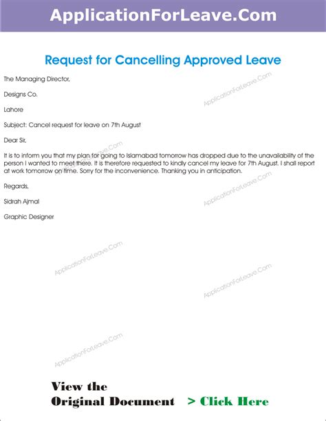 letter  cancel  approved leave  employee due
