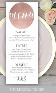 rose gold wedding menu card printable personalized With size of wedding menu cards