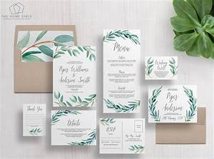 printable wedding invitation suite eucalyptus invitation With wedding invitations with eucalyptus