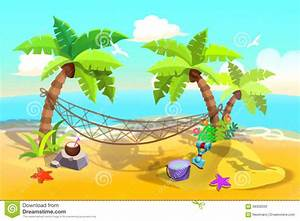 Illustration For Children: Sand Beach Hammock Between Palm ...