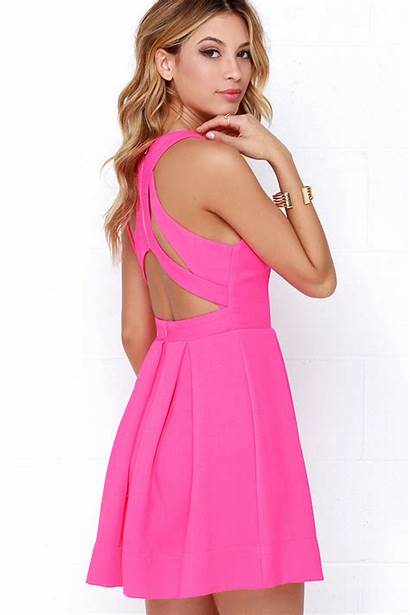 Lulus Pink Neon Dresses Skater Exclusive Test