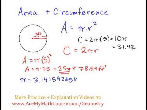 Basic Geometry  Area And Circumference Of Circles Youtube