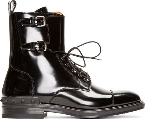 Valentino Black Patent Leather Buckled Stud Boots