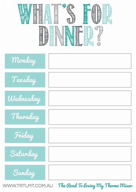 Meal Planner Template What S For Dinner 2 Fb Organization Meal